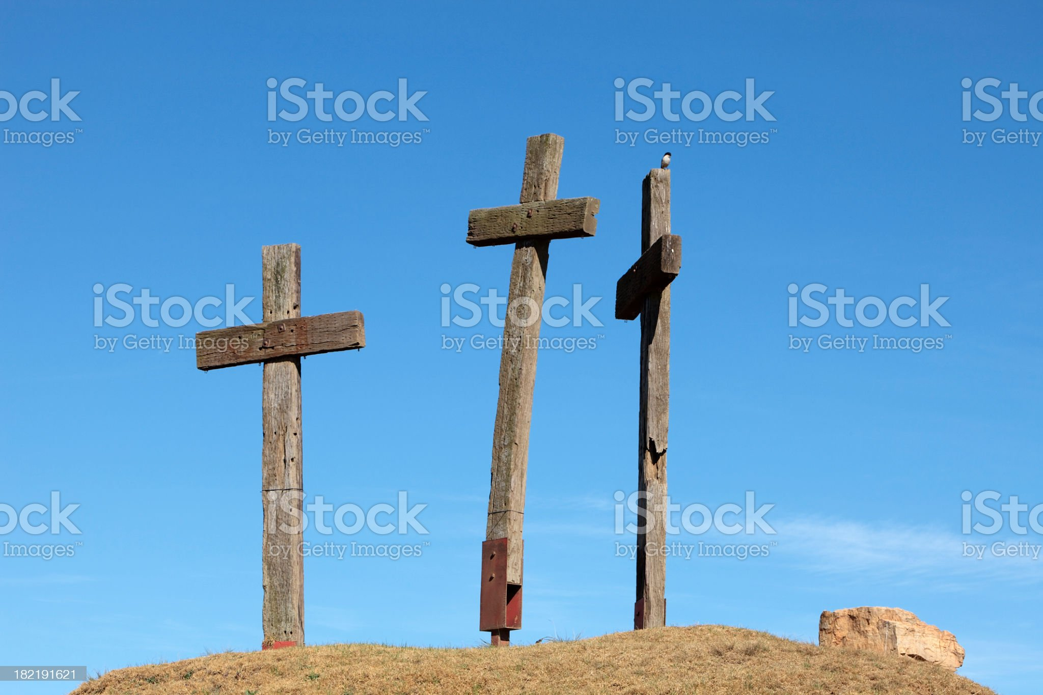 Three Crosses on a Hill royalty-free stock photo