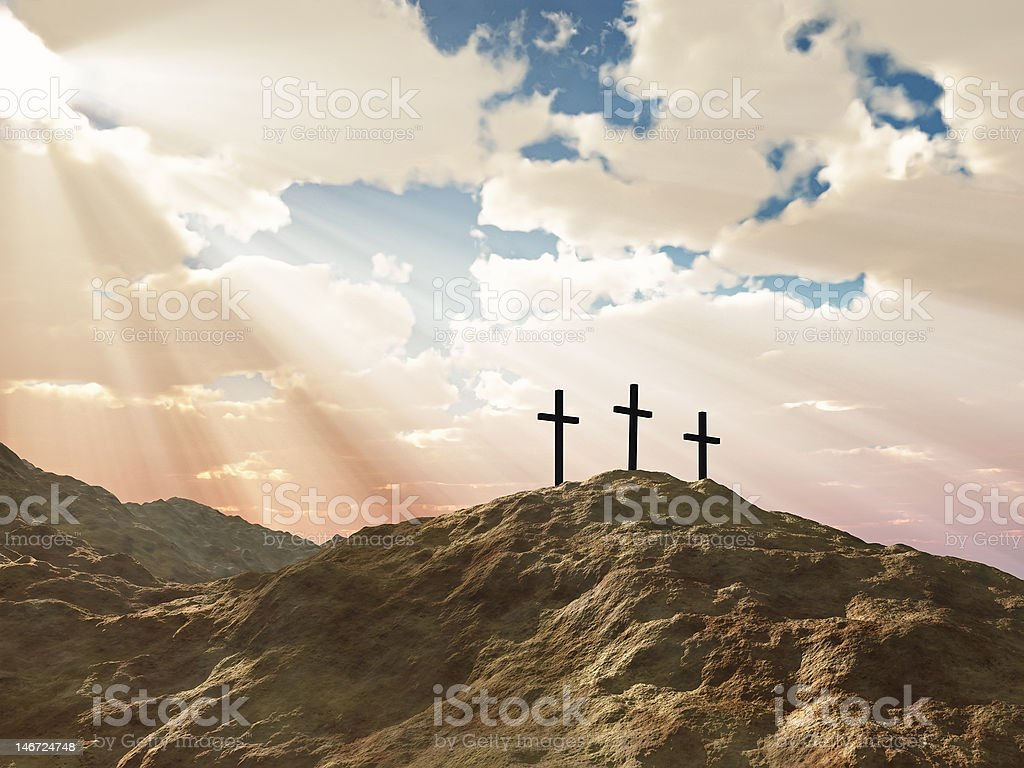 Three crosses on a hill with sun beams photo montage stock photo