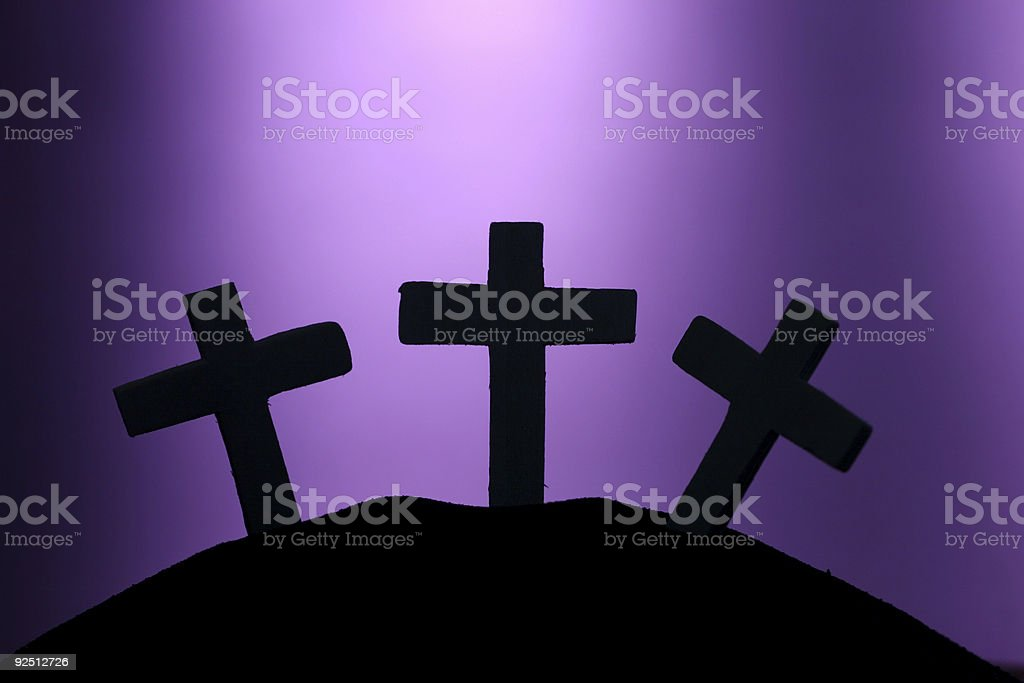 Three Crosses on Hill stock photo
