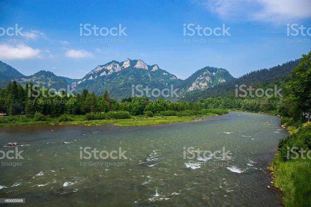 Three crown peak and Dunajec river stock photo