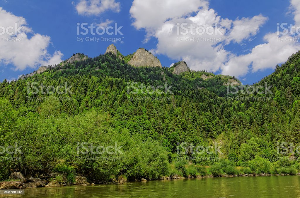 three crowns peak in Pieniny mountains stock photo