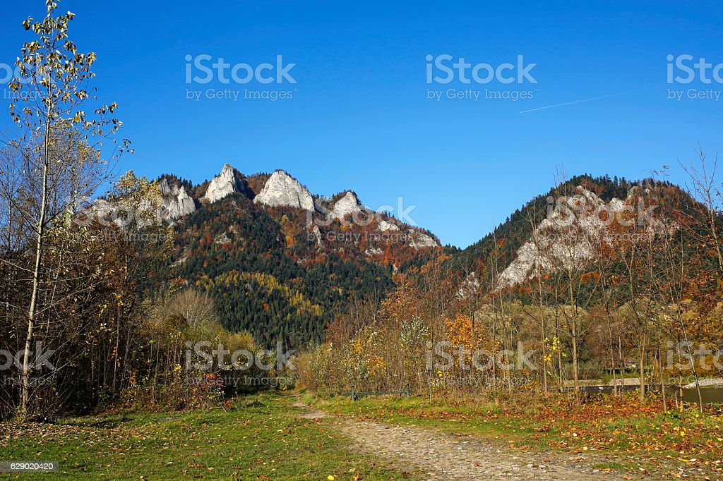 Three Crowns peak in Pieniny Mountains, Szczawnica, Poland stock photo