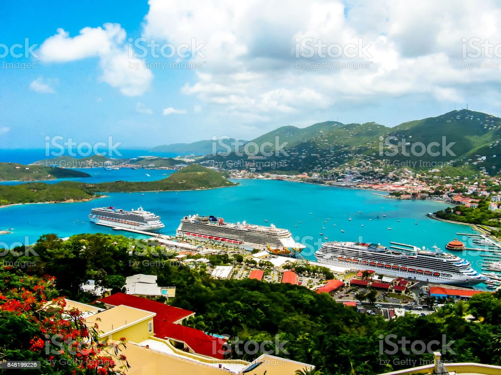 Three cruise ships moored in the bay lovely sunny day stock photo