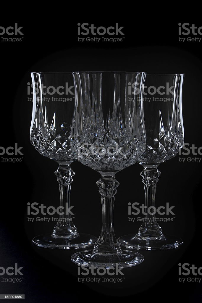 Three Crystal Glasses royalty-free stock photo