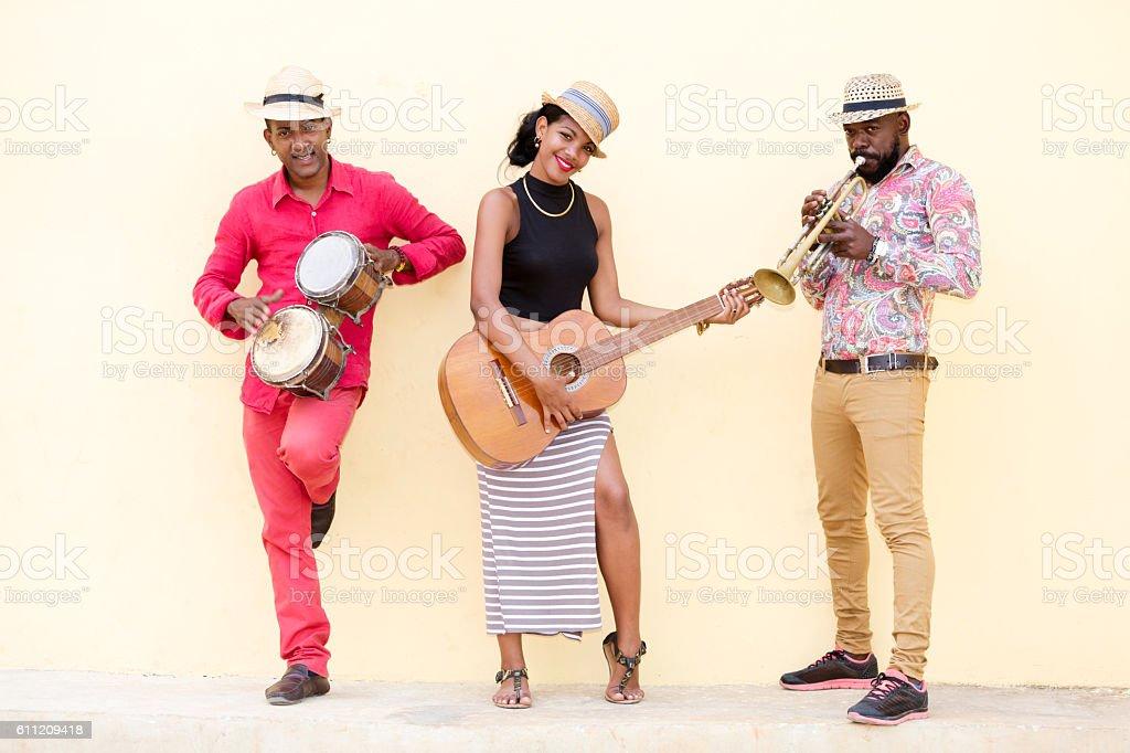 Three Cuban Musicians in Havana stock photo
