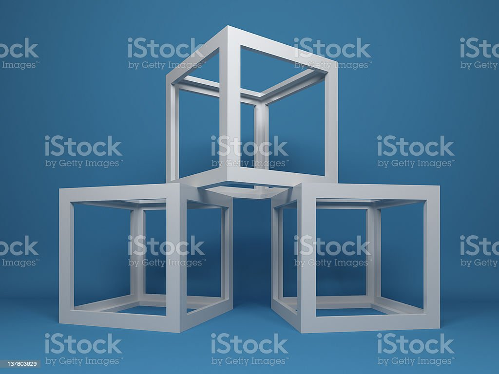 three cubes abstract composition royalty-free stock vector art