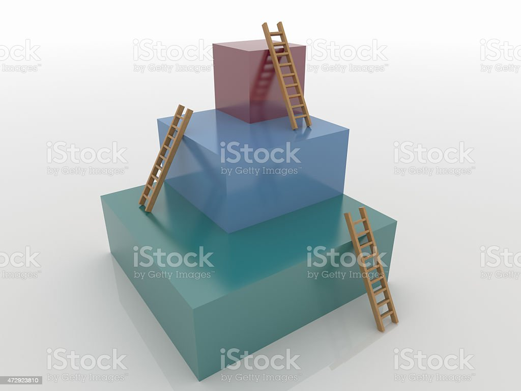 Three Cubes with Ladders, Goal 3D Concept stock photo