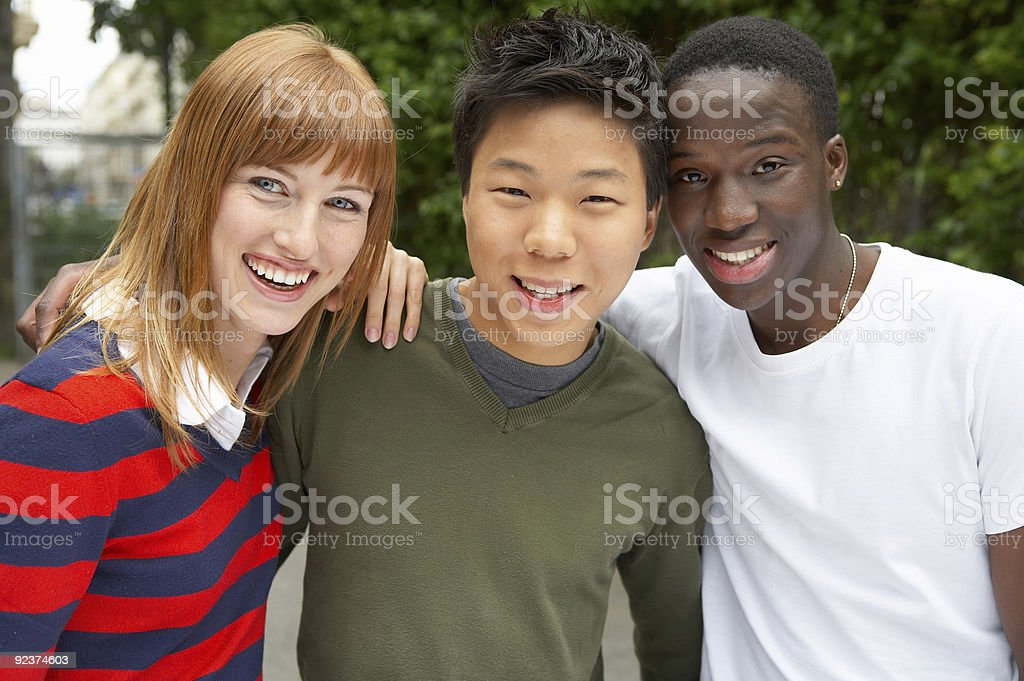 three cultures together stock photo