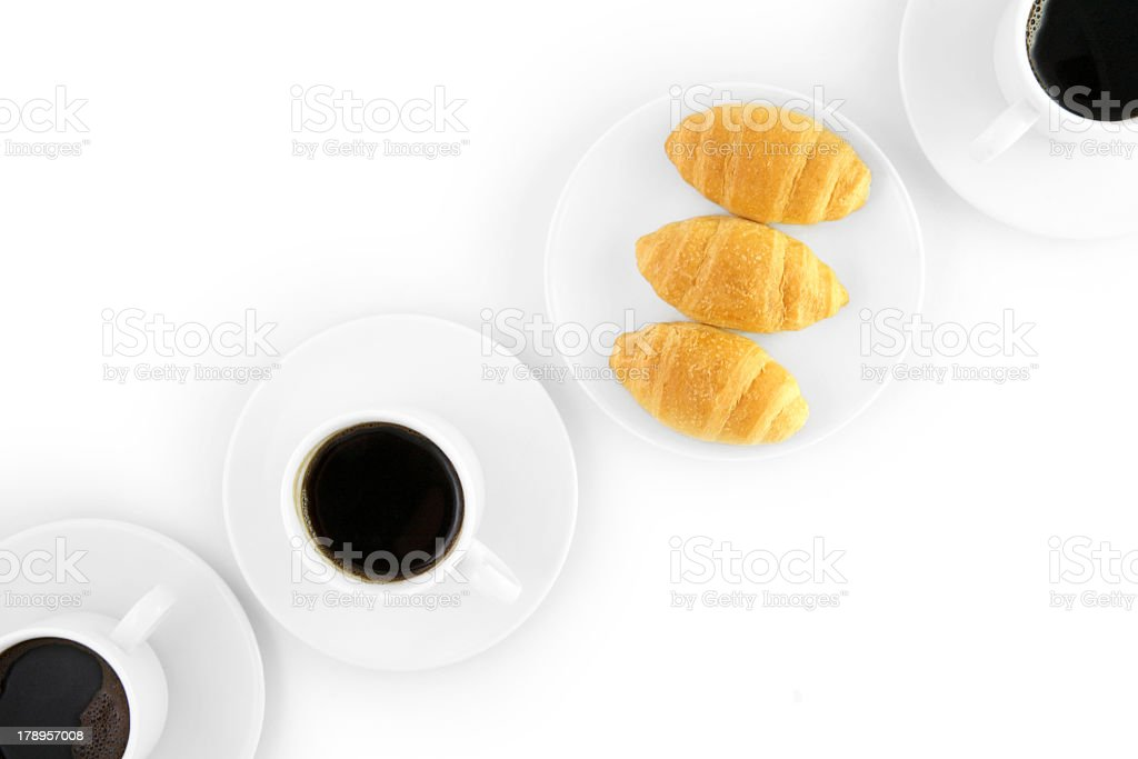 Three cup of coffe and croissants royalty-free stock photo