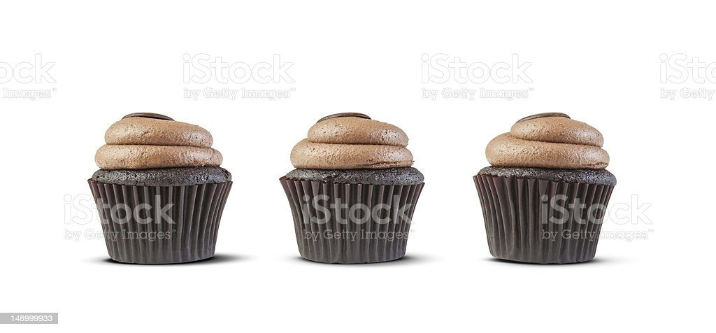 three cupcakes isolated on white stock photo