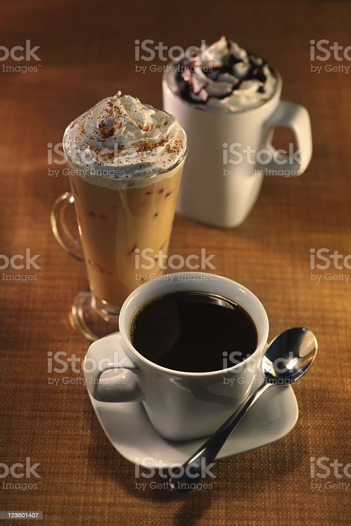 Three Cups in a Coffee Shop royalty-free stock photo