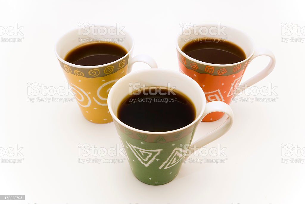 Three cups of coffee royalty-free stock photo