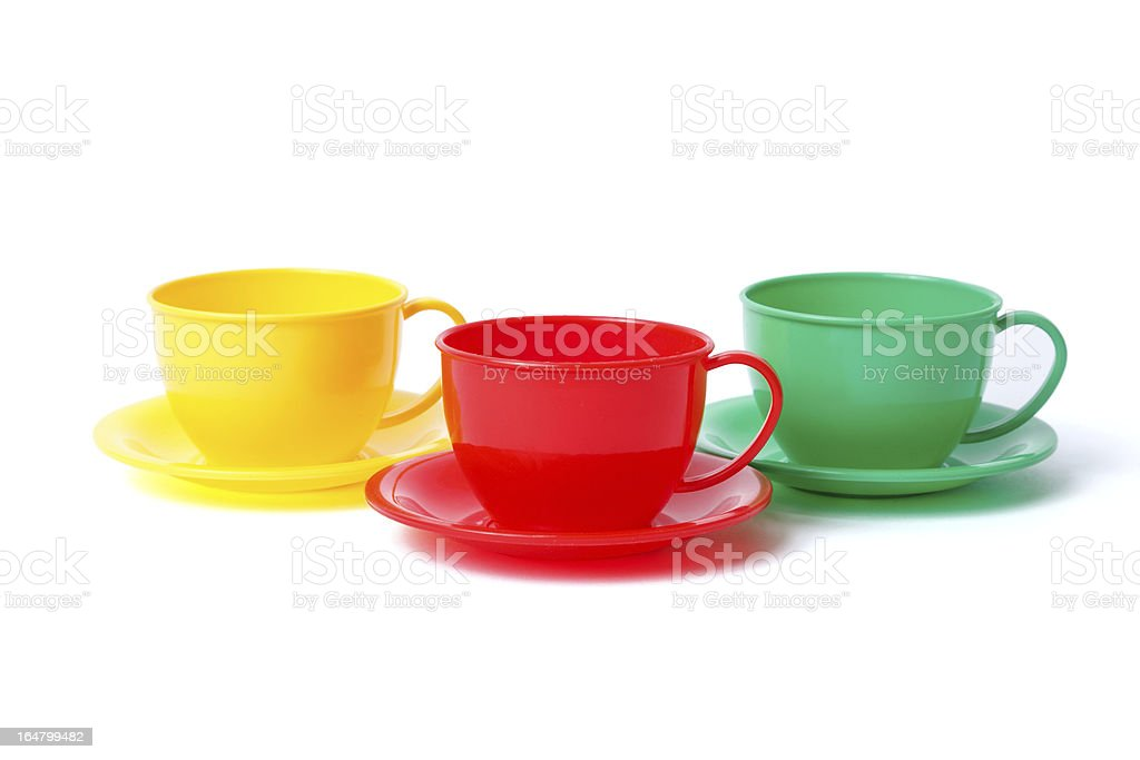 three cups on saucers royalty-free stock photo