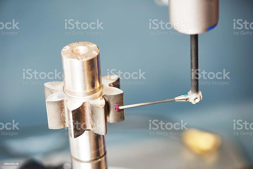 three D coordinate cogwheel measuring stock photo