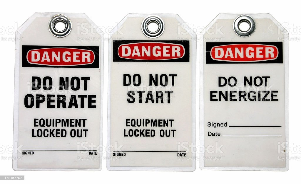 Three danger lockout tags about equipment stock photo