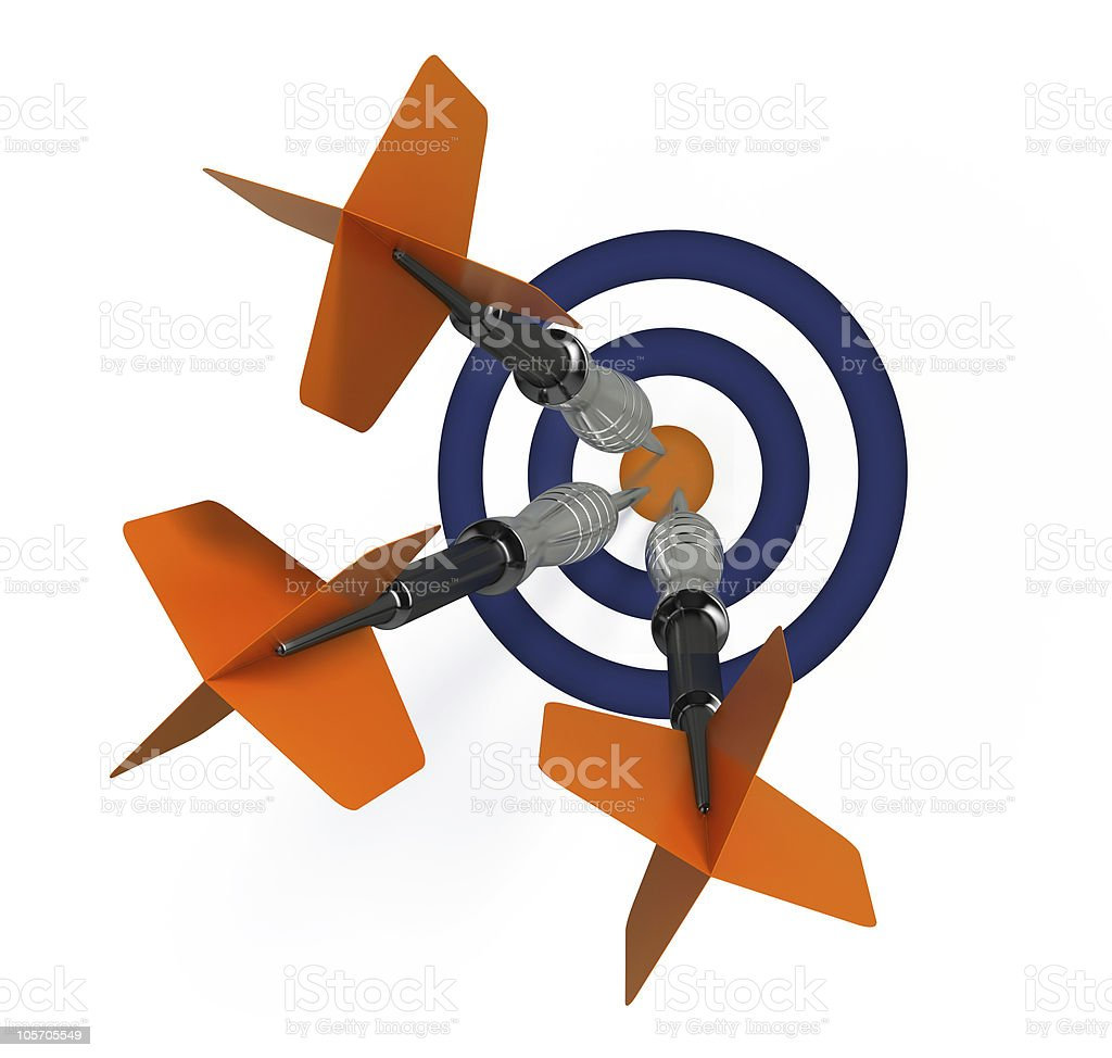 Three darts and target stock photo