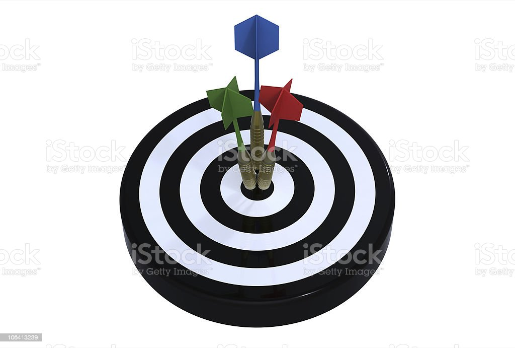 Three darts on bull's eye royalty-free stock photo