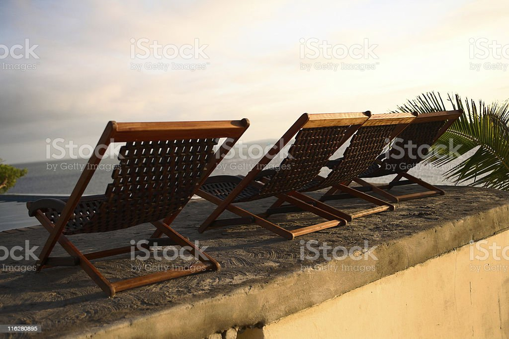 three deck chair chairs stock photo