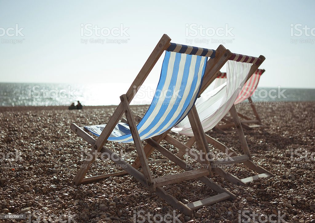 Three Deck Chairs royalty-free stock photo
