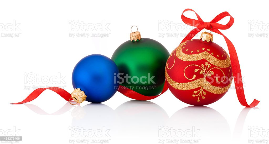 Three decorations Christmas ball with ribbon bow isolated on white stock photo
