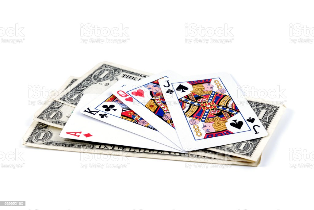 Three denominations on one dollar and playing cards stock photo