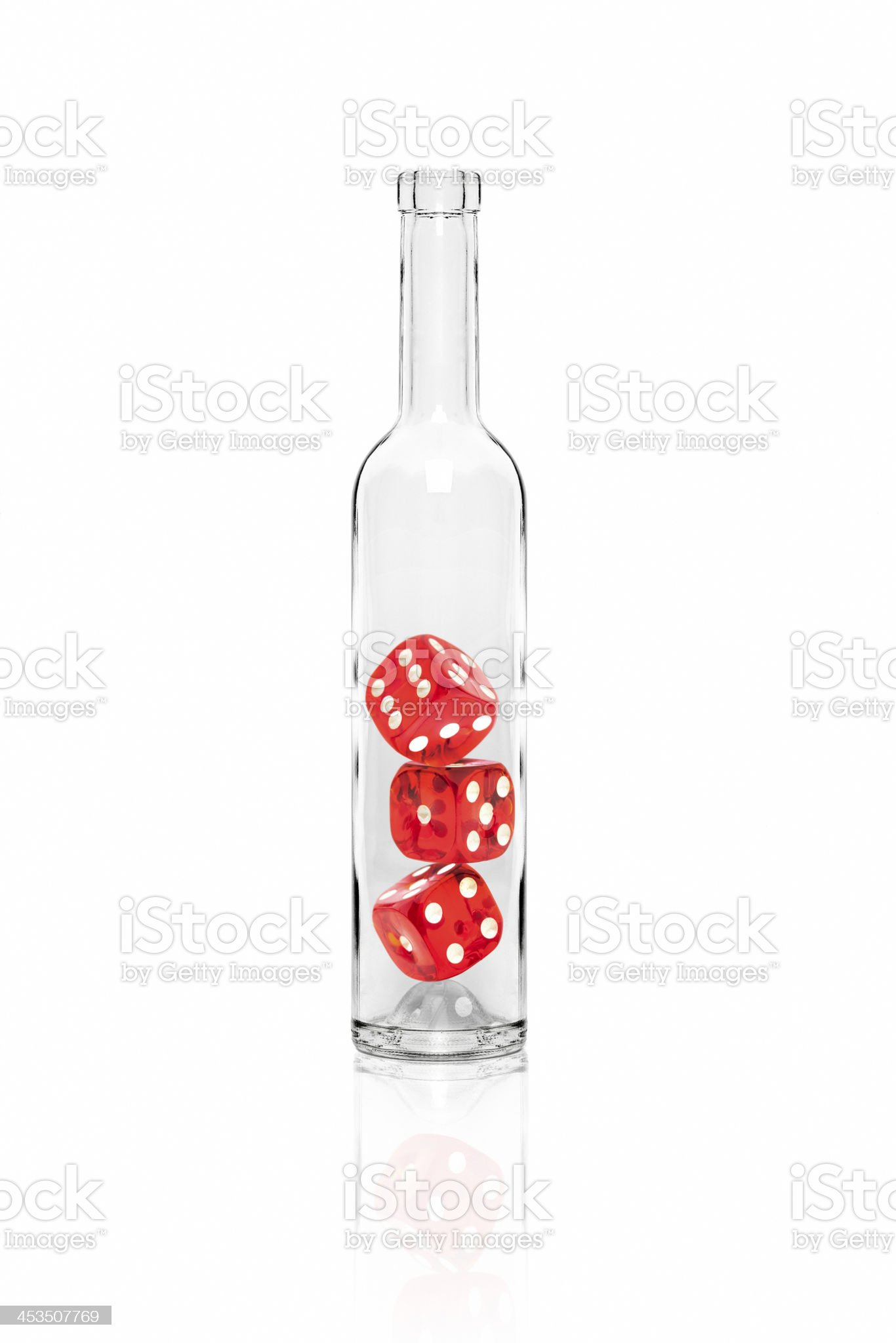 Three dices in the bottle royalty-free stock photo