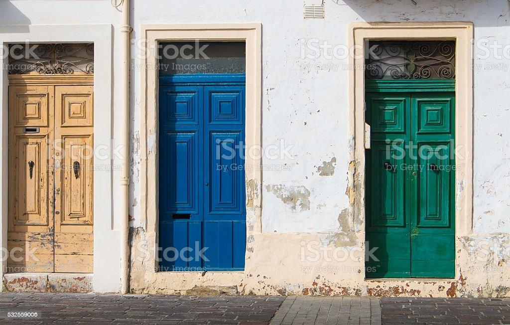 Three different color doors stock photo