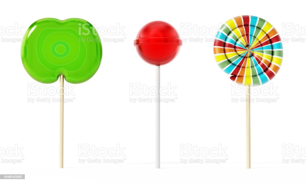 Three different lollipops isolated on white vector art illustration