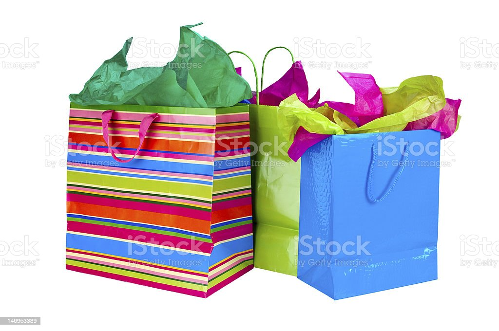 Three different multi colored shopping bags  royalty-free stock photo