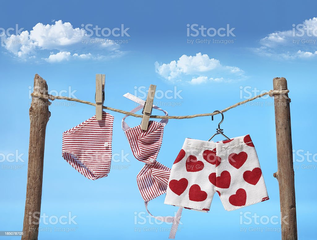 Three different pieces of laundry on the clothes line  stock photo