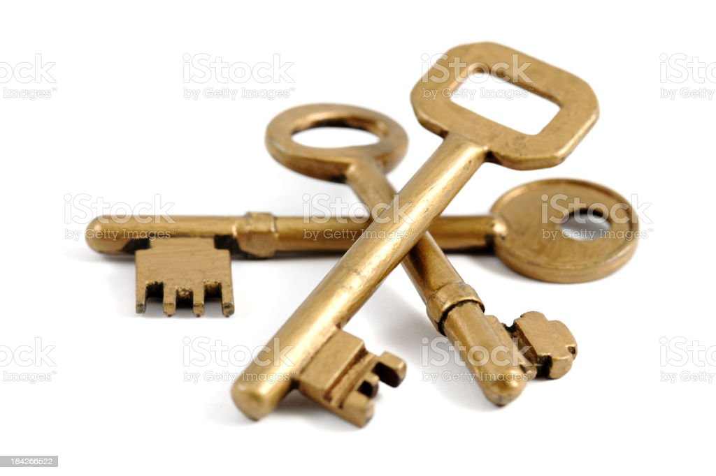 Three different sized gold keys stock photo