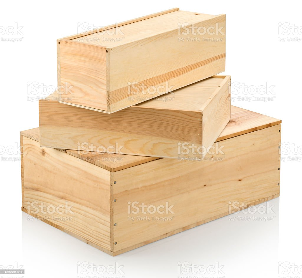 Three different sized wood wine boxes stock photo