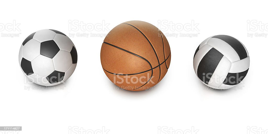 Three different sports balls stock photo