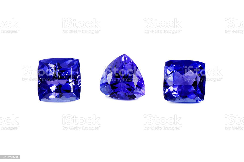 Three Different Tanzanite Stones stock photo