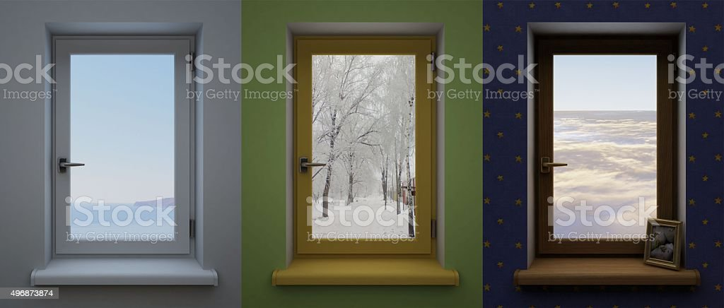Three different windows. stock photo