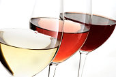 three different wine , red, white, rose with white background