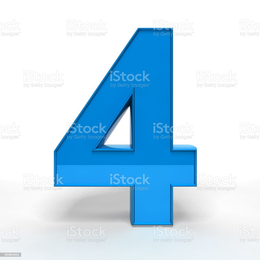 Three dimension blue number four royalty-free stock photo
