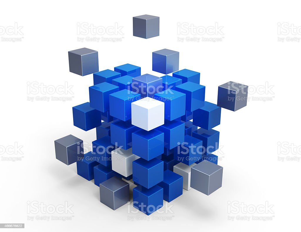 Three dimensional cube's making cube on white background stock photo