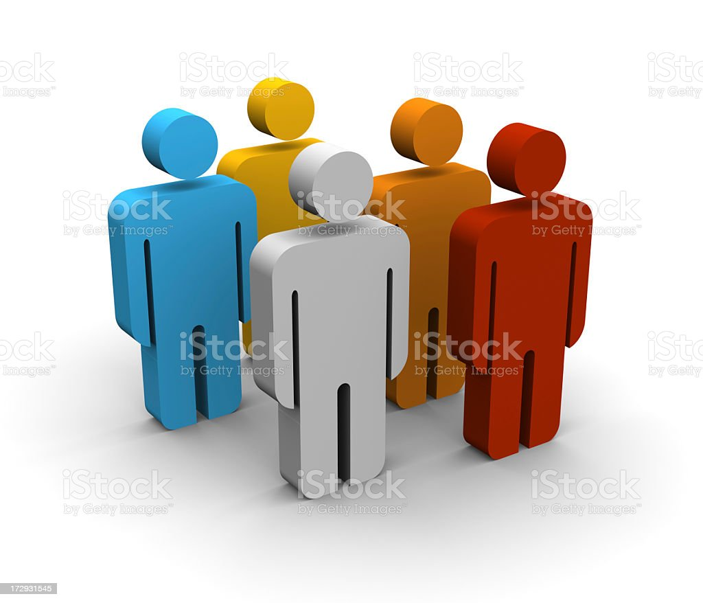 Three dimensional group of people figurines royalty-free stock photo