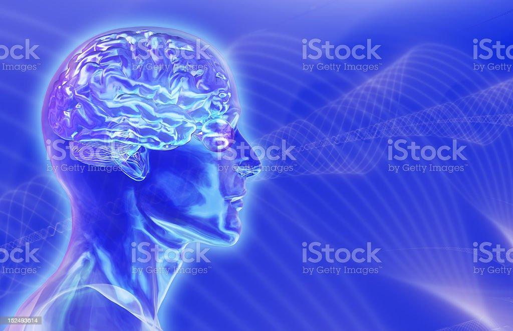 Three dimensional illustration depicting brainwaves royalty-free stock photo