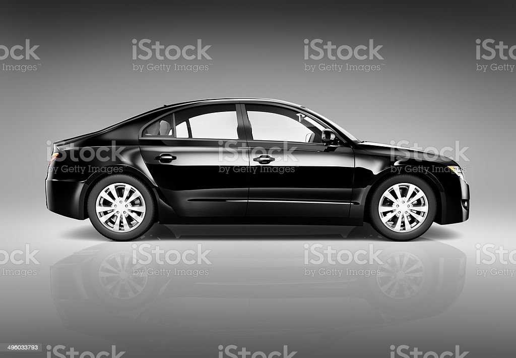 Three Dimensional Image of a Black Luxury Car stock photo
