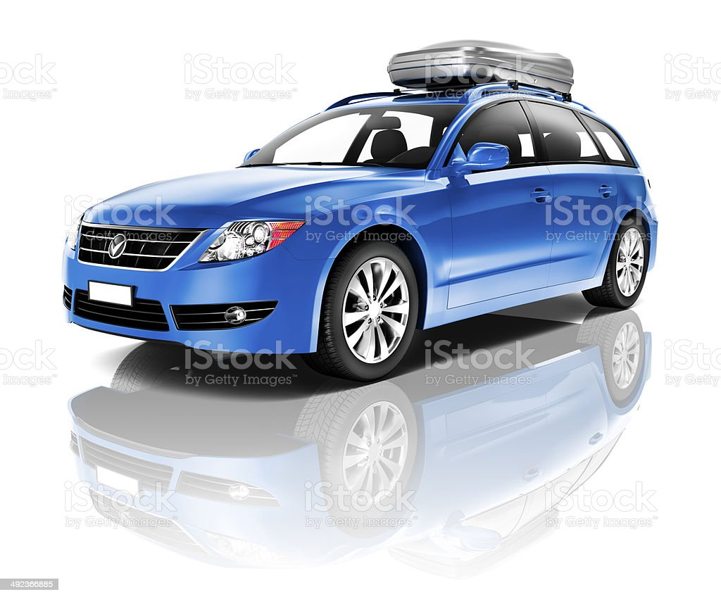 Three Dimensional Image of a Blue Car stock photo