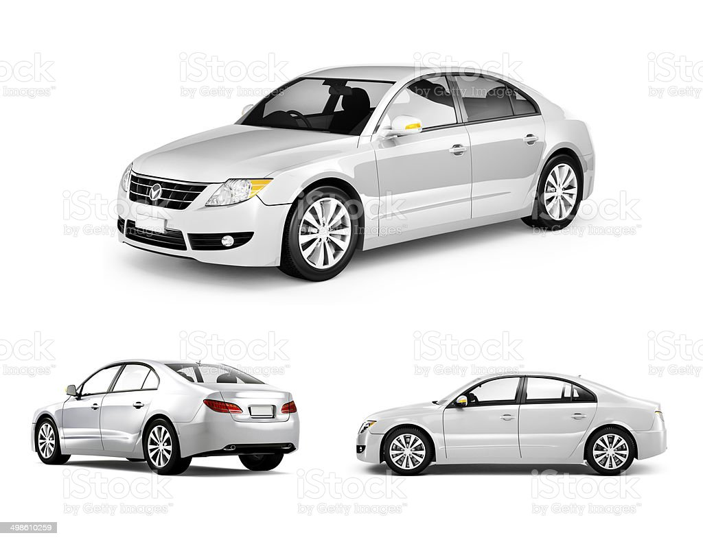 Three Dimensional Image of White Car stock photo