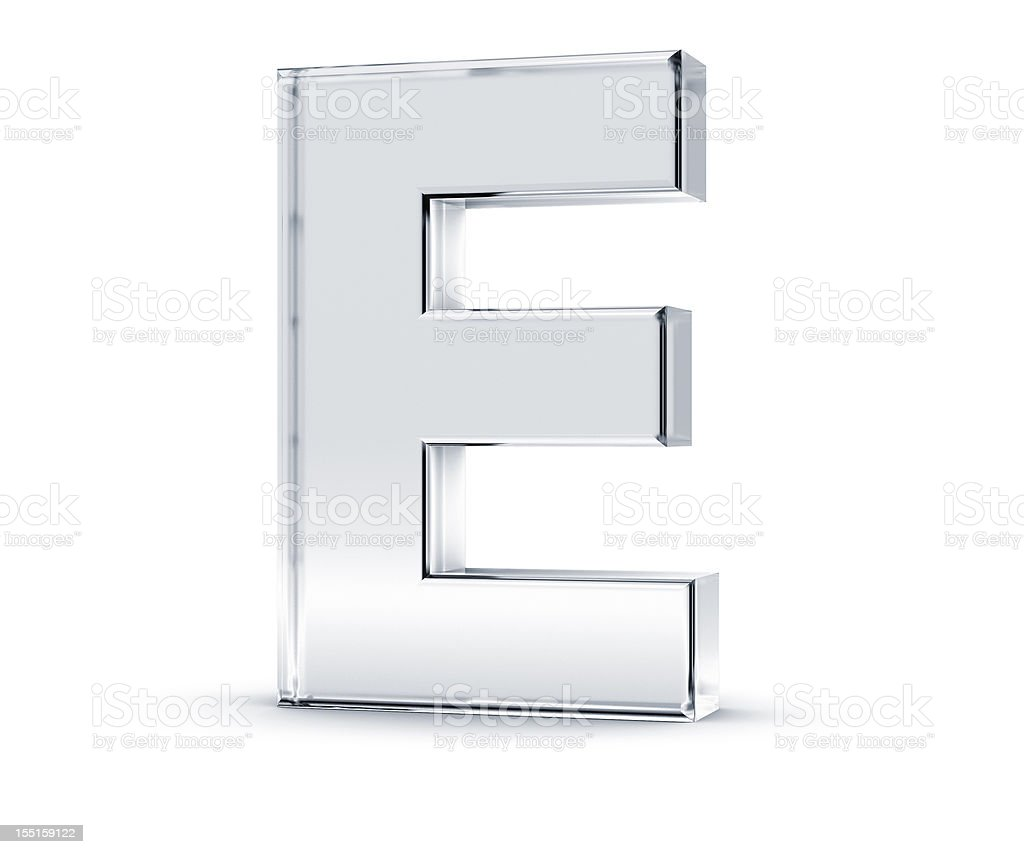 Three dimensional letter E on white background stock photo
