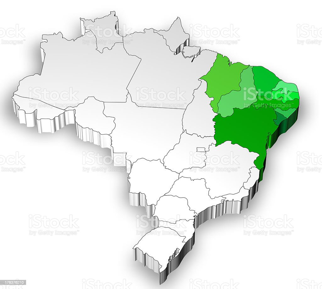 Three dimensional map of Brazil with north region royalty-free stock photo