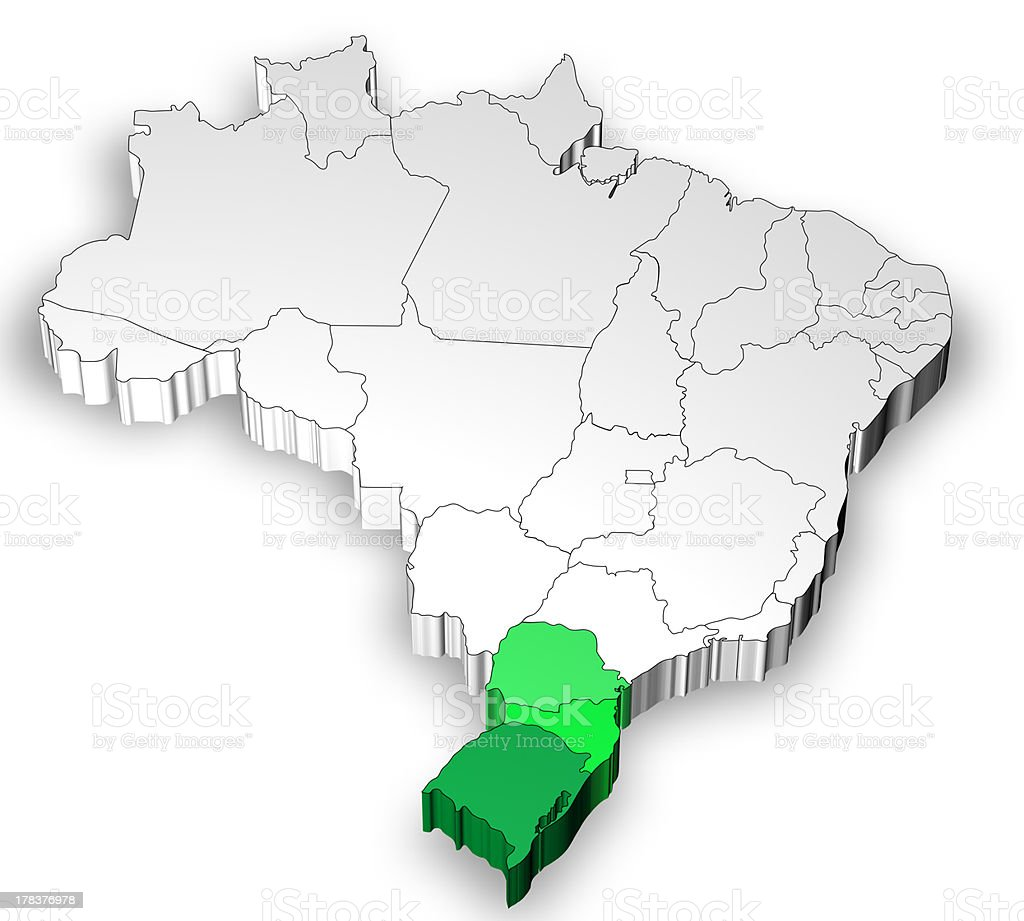 Three dimensional map of Brazil with south region royalty-free stock photo
