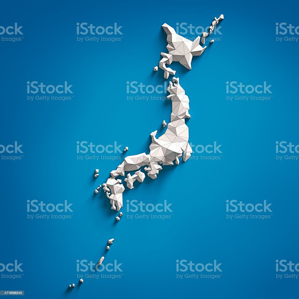 A three dimensional map of Japan stock photo
