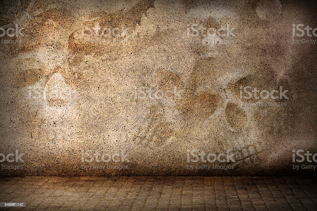 Three dimensional room with horror objects on the wall stock photo