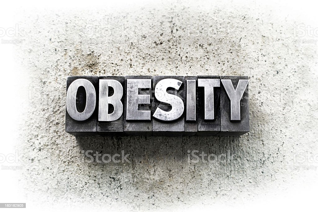 Three dimensional word obesity on grunge background  stock photo