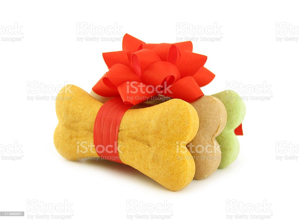 Three dog bone biscuits wrapped in a bow stock photo